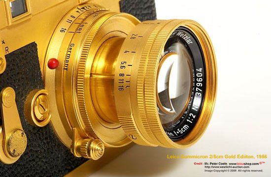 An extremely rare Leica M3 Gold Special Edition Model, 1956 with gold plated collapsible Summicron 2/5cm, a rare and highly collectible Leica M model by  auctioned by LeicaShop