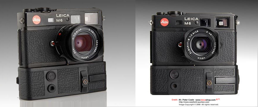 Front view of LEICA M6 electronic with ELMARIT-M 1:2.8/28mm lens incoporrated with an electronic shutter, 1981 prototype model