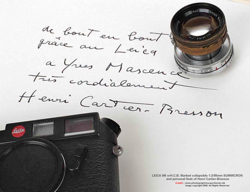 A visual library on Leica M6 Speical Small Volume Edition rangefinder camera models - Henri Cartier-Bresson / Louis Vuitton Edition, 1998 - Index page