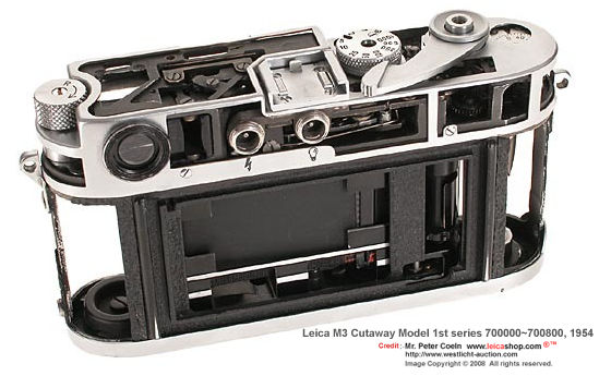 Leica M3 DS Cutaway display Model, 1954 rear section view