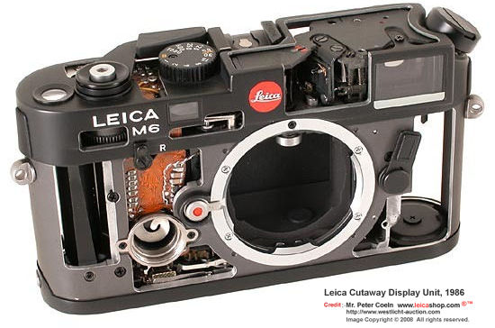Leica M6 Cutaway Display Units, 1986 in showing interior mechanism inside a classic Leica M6 camera body
