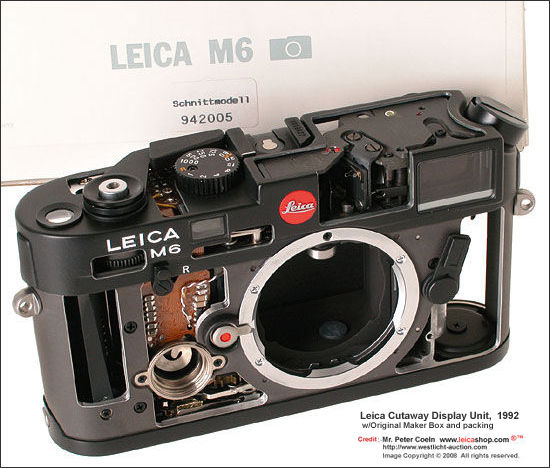 Leica M6 Cutaway Display Units, 1992 in showing interior structures, mechanism inside a classic Leica M6 camera body