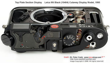 Leica M6 Black (10404) Cutaway Display model, 1995  top plate section