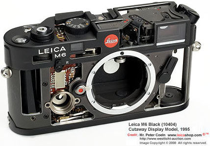 Leica M6 Black (10404) Cutaway Display model, 1995 front view