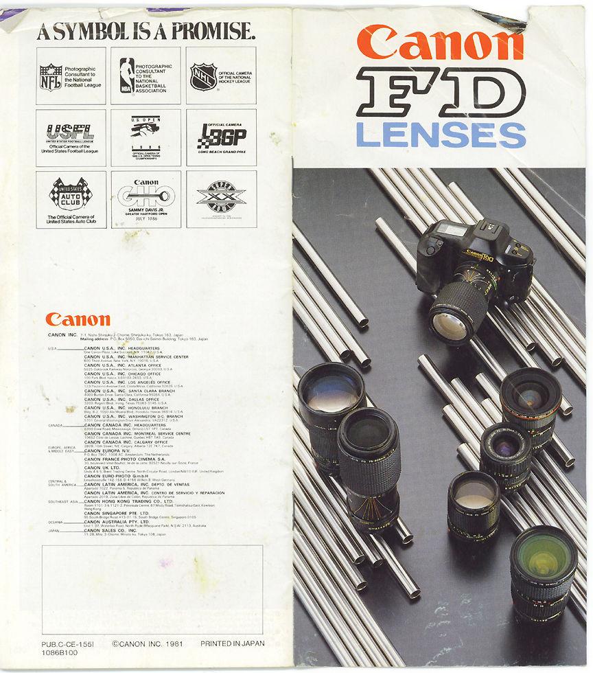 An old Canon FD lenses catalogue