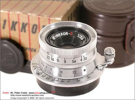 W-Nikkor.C 1:3.5 f=3.5cm in Leica M39 thread screw mount