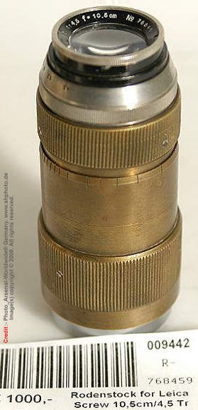 Old, brass version of the Rodenstock 10.5cm 1: 4.5 telephoto lens Leica Screw Mount