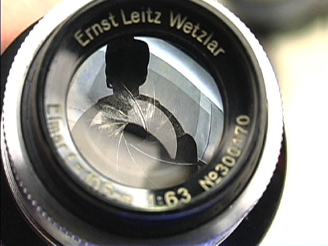 Leica Ernst Leitz Wetzlar ELMAR 105mm f/6.3 front lens element reflection view