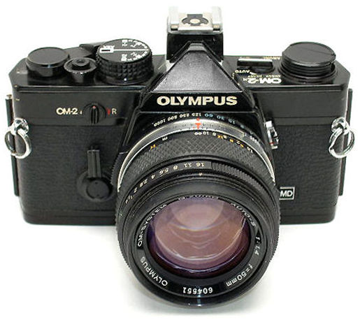 Papercraft recortable de cámara fotográfica Olympus OM-2.