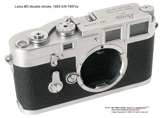 Early versions of Leica M3 double strokes Models in sequential year