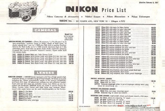 A Libary of old price list for Nikon (Nippon Kogaku KK) Rangefinder
